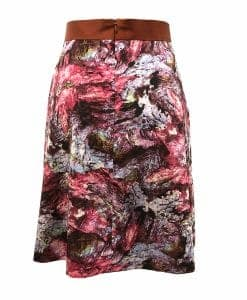 Back view of woken hole cave print skirt