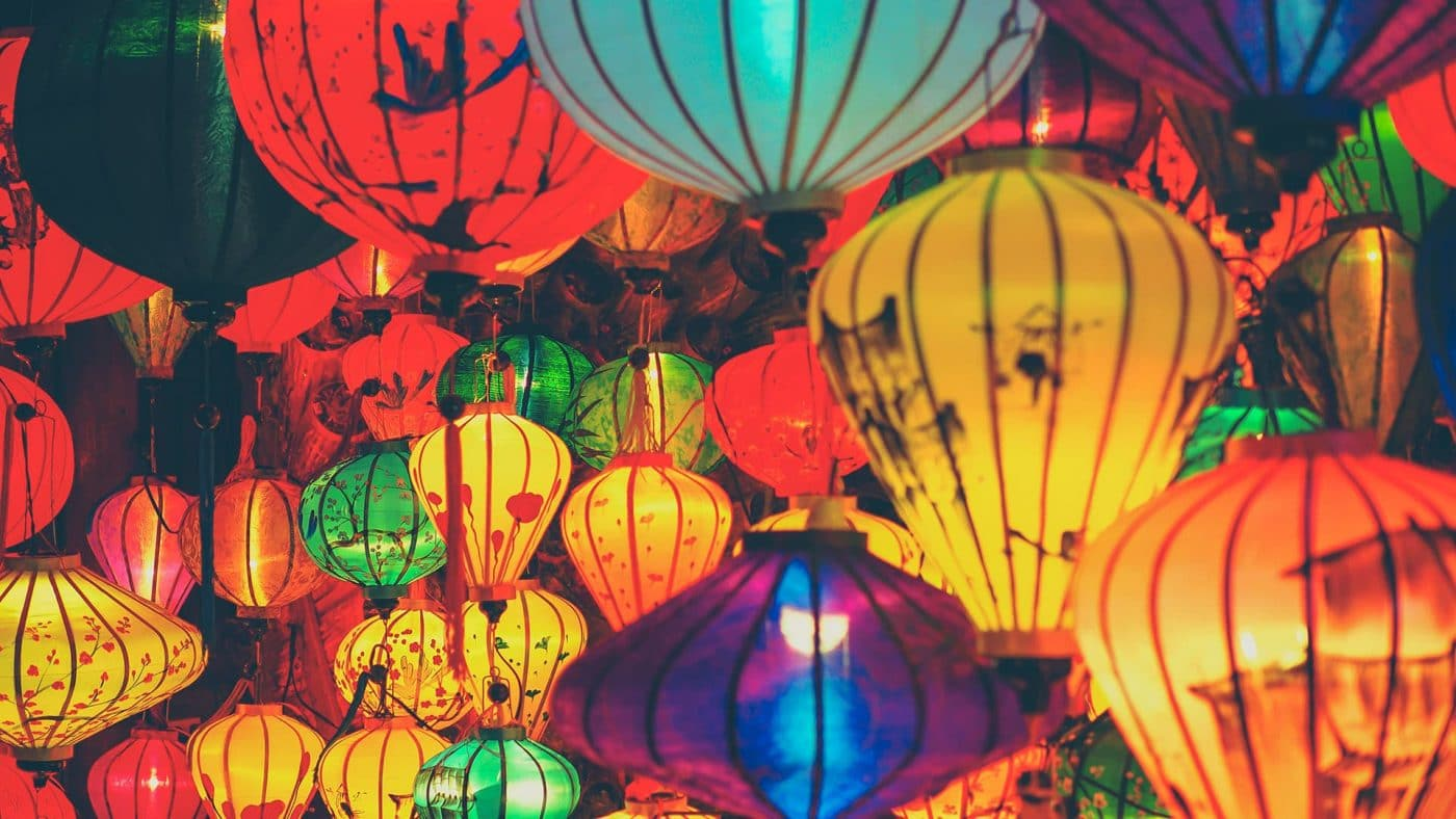 Colourful silk lanterns